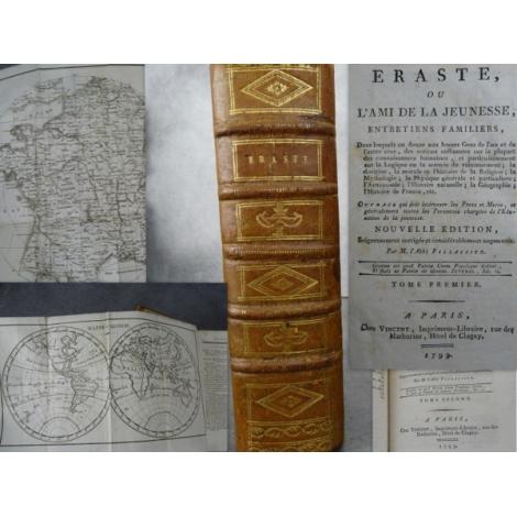 Fillassier Eraste ou l'ami de la jeunesse 1799 Complet Pédagogie éducation Mappemonde