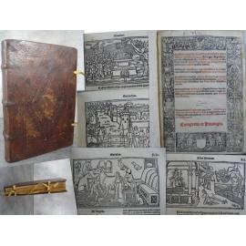Marci Valerii Lyon 1522 Nombreux grands bois dans sa première reliure estampé de fers monastiques.