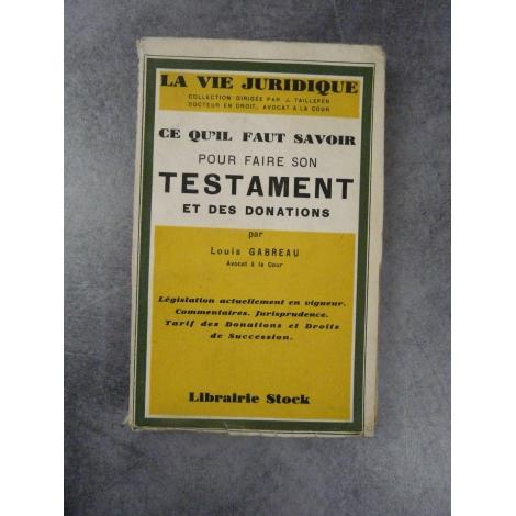 Gabreau testaments et donations Histoire du Droit successions 1929