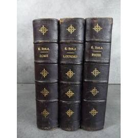 Zola Emile les trois villes Paris Rome Lourdes Charpentier 1901 Reliures cuir de l'époque