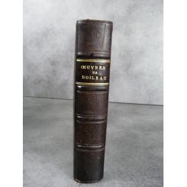 Boileau Oeuvres Berryat Saint Prix notice de Sainte Beuve, Etude par Gidel Paris Garnier vers 1890 reliure cuir du temps.