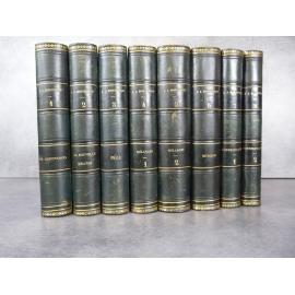 Rousseau Jean Jacques Oeuvres complètes Lefevre 1839 8/8 volumes notes historiques de Petitain reliures cuir.
