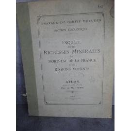 De Margerie Grand Atlas Richesses minérales du nord est de la france régions voisines 1918 complet pochette défraîchie