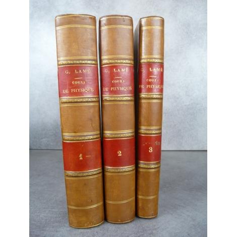 Lamé Gabriel Cours de Physique de l'école polytechnique 1840 complet avec 17 planches dépliantes