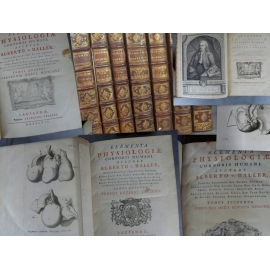 Haller Albrecht von Elementa Physiologiae corporis humani Editions originales 1757-65 Médecine 7 volumes in quarto