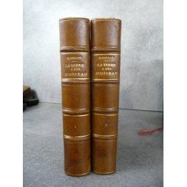 Reclus Onesime La terre à vol d'oiseau 1882 nombreuses gravures in et hors texte . Reliure cuir