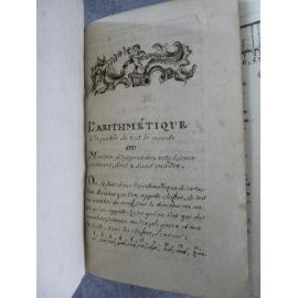 Manuscrit L'Arithmétique à la portée de tout le monde fin XVIIIe finement calligraphié Mathématique science calcul