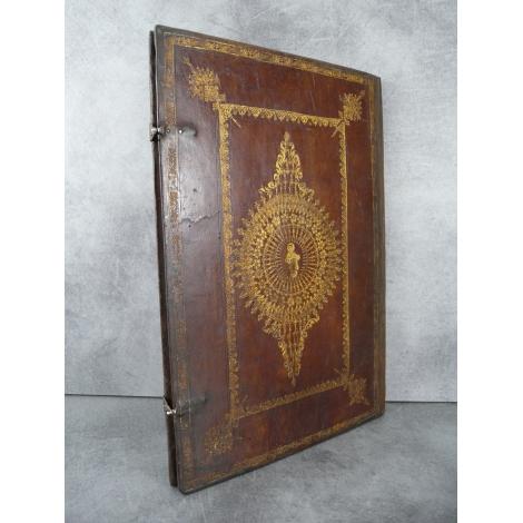 Manuscrit sur vélin du XVe siècle , Pater Noster, Agnus Dei ... reliure aux petits fers Graduel maroquin