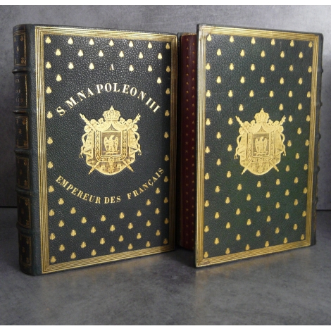 Exemplaire de présent aux Armes de Napoléon III Jules Baux Nobiliaire de l'Ain Reliure bibliophilie Collection empire