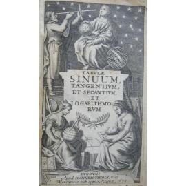 Tables de logarithme avec calcul astronomiques .Beau fronsispice Lyon 1670 Tabulae sinuum,tengentium et secantium