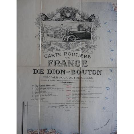 Carte routière France De Dion Bouton bel exemplaire parfait