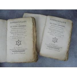 Blackstone Commentaires sur le code criminel d'Angleterre . traduction de l'Abbé Coyer 1776