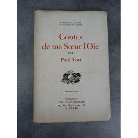 Paul Fort Contes de ma Sœur l'oie envoi au peintre et portraitiste Aaron Bilis. Klein Hors commerce