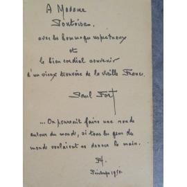 Paul Fort Le pélerin de la france bel envoi avec fragment de poème. Flammarion 1948