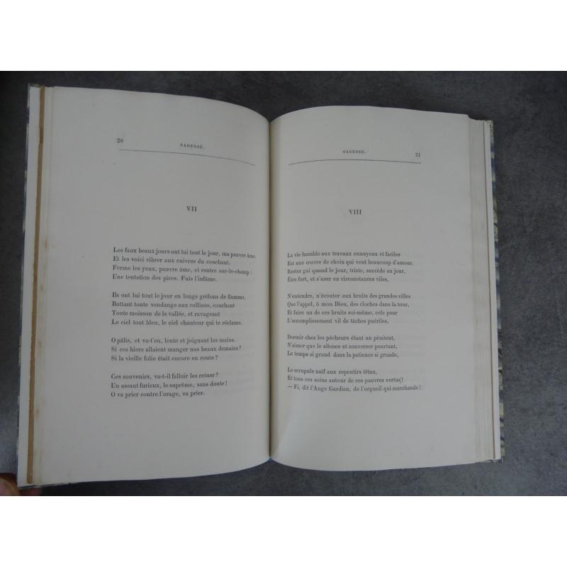 Paul Verlaine Sagesse Edition originale Librairie Catholique 1881 Grandes marges, précieux exemplaire.