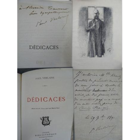 Paul Verlaine Dédicaces Envoi de Verlaine et feuillet manuscrit important ensemble fortement symbolique.