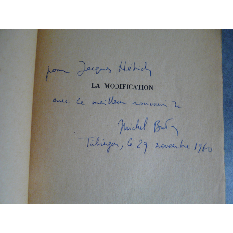 Butor Michel, La modification avec envoi de l'auteur 1957 Nouveau roman