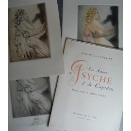 La Fontaine, Louis Icart Pointes sèches Les amours de Psyché et de Cupidon. Avec cuivre et dessin original signé. Érotisme