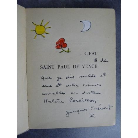 Jacques Prévert C'est à saint paul de Vence Bel envoi de Prévert enrichi de fleur lune et soleil coloriées