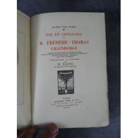 Taine Henri Vie et opinions de Frédéric-Thomas Graindorge Maîtres du Livre Georges Crès 1914 Numéroté sur papier de Rives