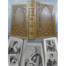 Muller Les femmes Galerie de portraits belle reliure plein chagrin olive, estampée d'une plaque romantique