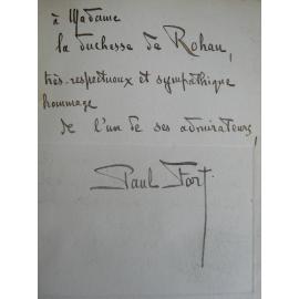 Paul Fort Ballades Fançaises Exemplaire de la Duchesse de Rohan Poêtesse célèbre tenant salon à Paris Bretagne