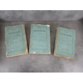 Lapparent Traité de géologie complet en 3 volumes quatrième Edition Terre Minéraux fossile