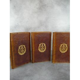 Chateaubriand Génie du Christianisme Reliures de l'époque plein cuir au fer du Collège Stanislas 1838