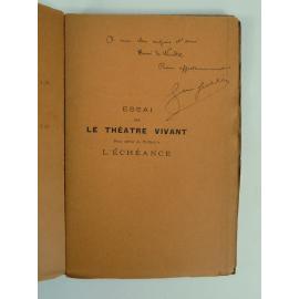 Jean Jullien Théâtre L'Echéance Exemplaire sur papier couleur avec envoi à Alfred Wendel très rare seulement 50 papier couleur