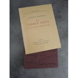 Mansfield Catherine Vertès Garden Party nouvelles Imprimerie Nationale Sauret numéroté lithographie Beau livre état de neuf