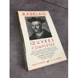 Rabelais Collection Bibliothèque de la pléiade NRF Œuvres complètes Epuisé 30 Aoiut 1962 Gargantua Pantagruel Boulanger