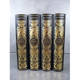Montaigne Les essais Jean de Bonnot Bel exemplaire reliure cuir.Complet en 4 volumes