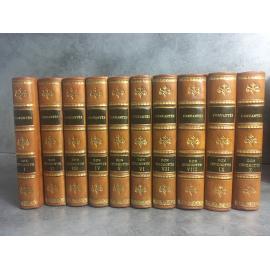 Cervantès Don Quichotte Filleau de Saint Martin 1824 Reliures cuir Gravures. Complet en dix petits volumes