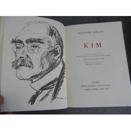 Kipling Rudyard Kim Mourlot lithographie Imprimerie Nationale Sauret numéroté Beau livre état de neuf
