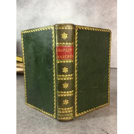 L'Esprit anacréontique des poètes français Vers 1800 plein maroquin vert empire poésie lithographie