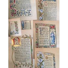 Entièrement réhaussé et enluminé à la main et à l'or, souvenir de première communion 1898 12 Miniatures superbes.