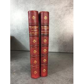 Lamartine La chute d'un ange Raphaêl Paris Hachette Furne 1875 Garnier 1858 lot d e deux livres .reliures uniformes