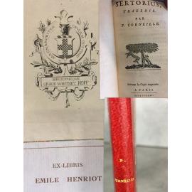 Corneille Sertorius tragédie Suivant la copie imprimée à Paris 1664 Elzévir provenance Whitney Hoff, et Emile Henriot ex libris.