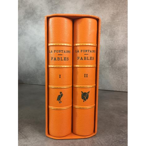 La Fontaine Les fables Bossard Un des 50 papier main d'Auvergne réimposé in8 Gravures avant la lettre. Reliures cuir