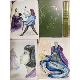 Musset Lorenzaccio 12 aquarelles originales de Hobi, André Vial plein maroquin bibliophilie