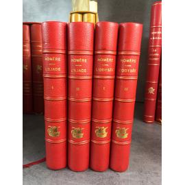 Homère L'Iliade. L'Odysée. Traduction nouvelle de Mario Meunier.Numéroté sur vélin superbe reliures têtes dorées.