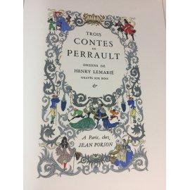 Illustré par Lemarié Henry Trois contes de Perrault Paris chez Jean Porson Pochoir Bois miniature Bibliophilie