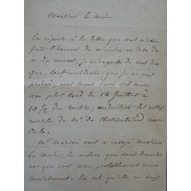 Lettre autographe Le neveu de Chateaubriand organise les funérailles de son oncle et son transfert à Saint-Malo