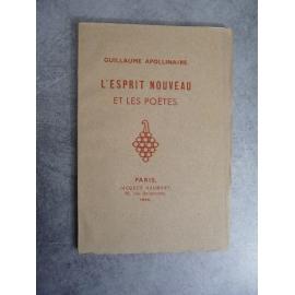 Apollinaire Guillaume L'esprit nouveau et les poètes Haumont 1946 Edition originale, numéroté