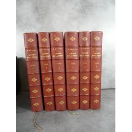 Reclus Elisée L'Homme et la terre 6 beaux volumes bien reliés et illustrés complet.