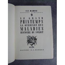 CF Ramuz titre numéroté sur vergé chiffon bel exemplaire année 1941 Le grand printemps la guérison des maladies