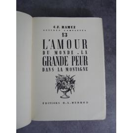 CF Ramuz titre numéroté sur vergé chiffon bel exemplaire année 1941 L'amour du monde la grande peur dans la montagne