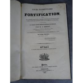 Imbert Atlas in folio du Cours élémentaire de Fortification, Militaria fort Canon Vauban 1835