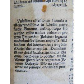 INCUNABLE RARE IMPRIME A MILAN EN 1484 Saint Antonin Sumula confessionis + liste de livre manuscrite