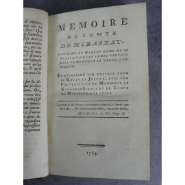 Mémoire du comte de Mirabeau 1784 divorce, cabale, révolution , libertinage, patriarcat
